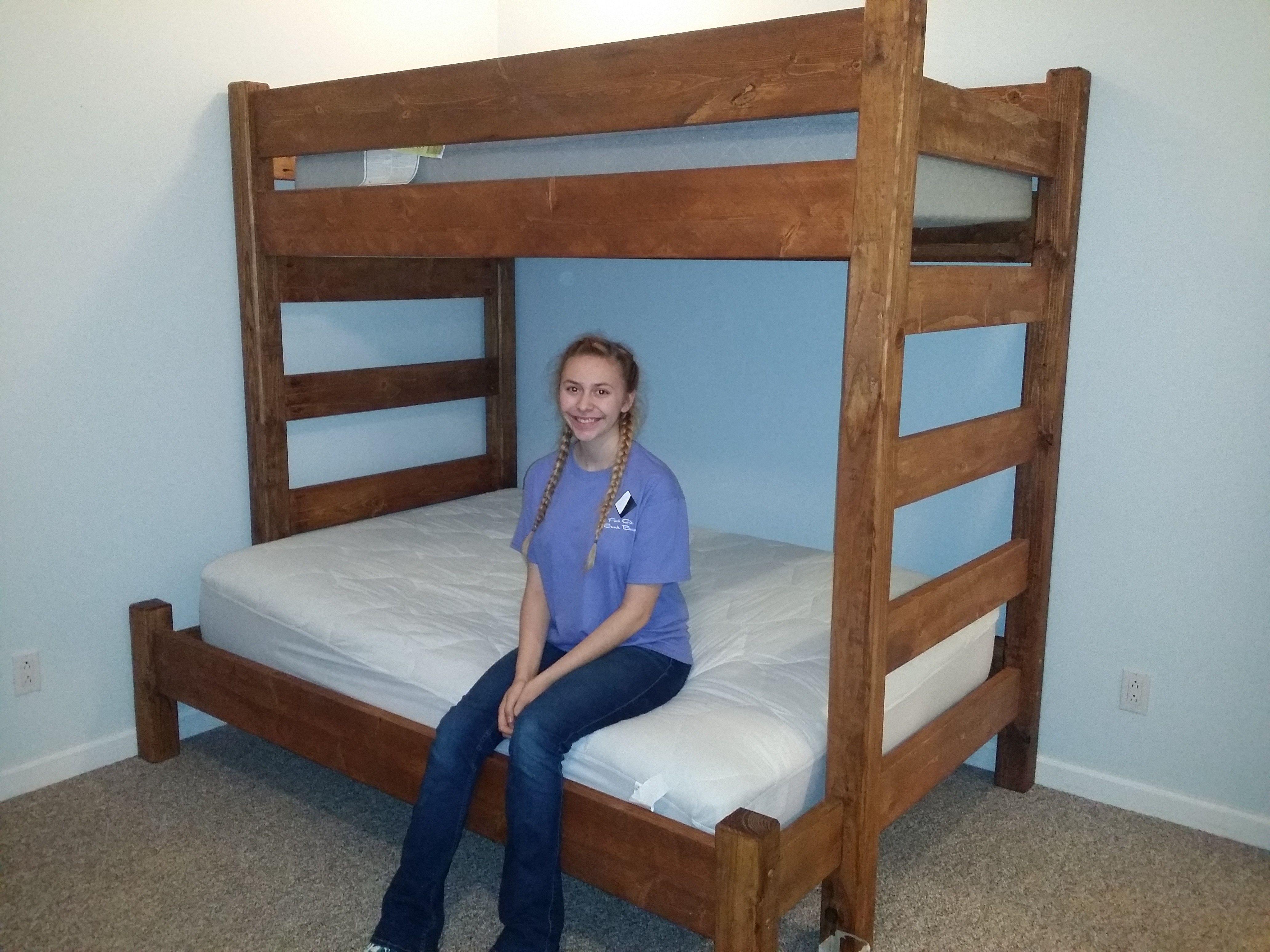 Rustic Twin over Full Bunk Bed Custom bunk beds, Bunk