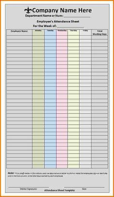 Excellent Employee Attendance Sheet Form For Company With Colorful