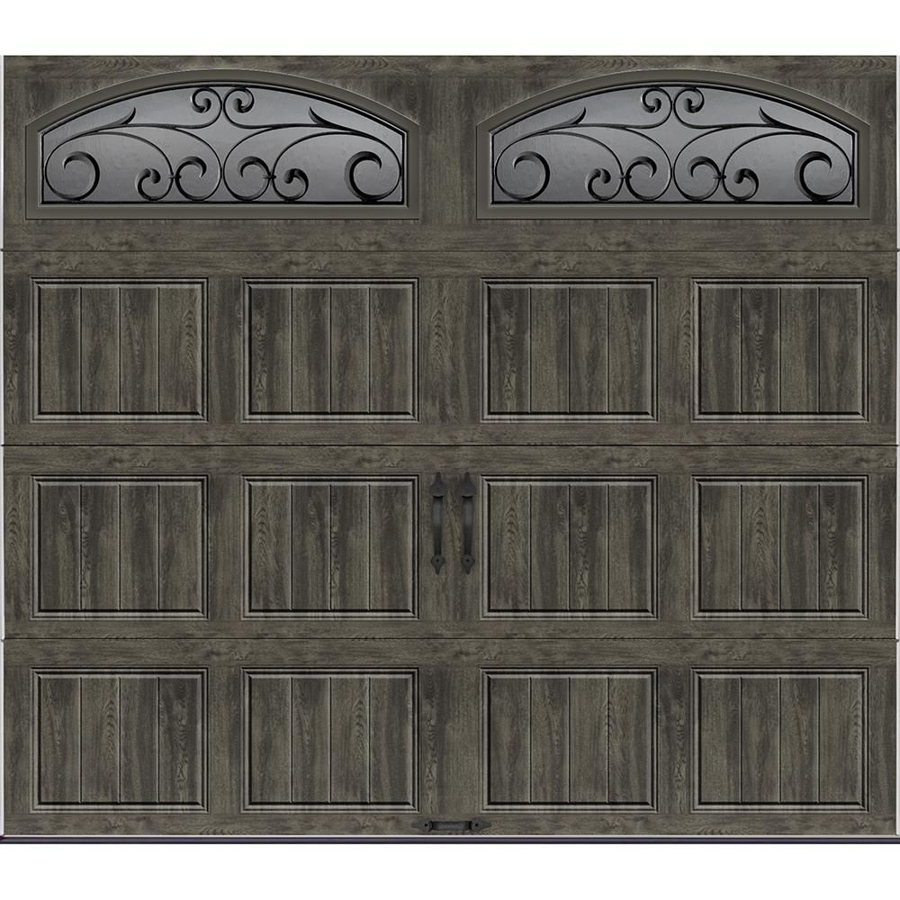Clopay Gallery Collection 8 Ft X 7 Ft 6 5 R Value Insulated Ultra Grain Slate Garage Door With Decorative Window Gr1sp Slo Wia2 The Home Depot Faux Wood Garage Door Garage Doors Barn Style Garage Doors