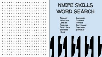 Photo of Knife Skills Word Search; FACS, Culinary Arts, Bellringer, Worksheet
