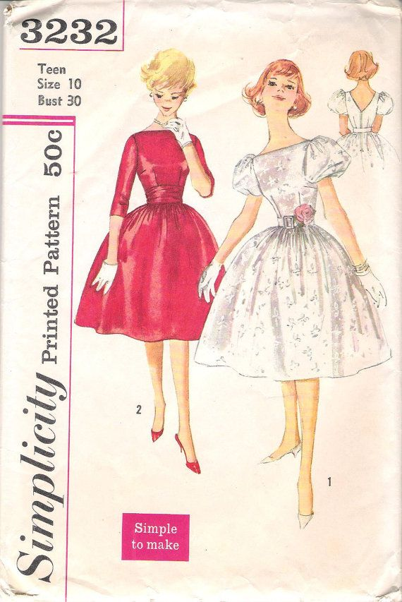 Simplicity 3232 Vintage 1950's Misses' Party by ComeSeeComeSew, $25.00
