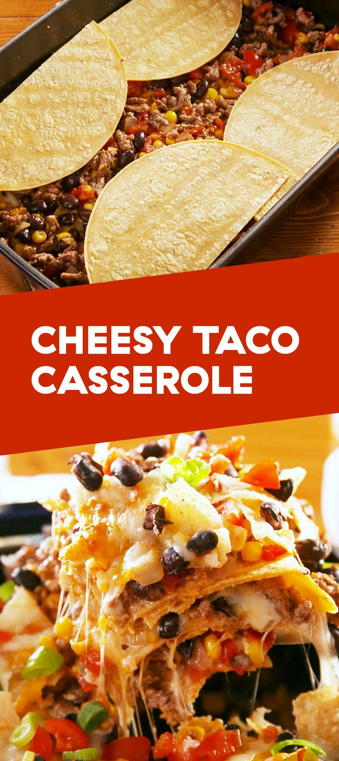 Cheesy Taco Casserole #tacorecipes