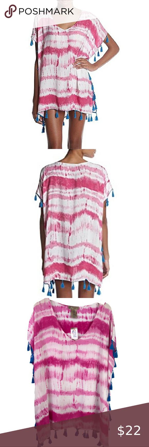 NWT Women/'s C/&T Pink Blue Tassel Swim Beach Cover Up Size XL X-Large
