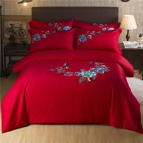 Butterfly Embroidery Luxury White Silky Egyptian Cotton Bedding