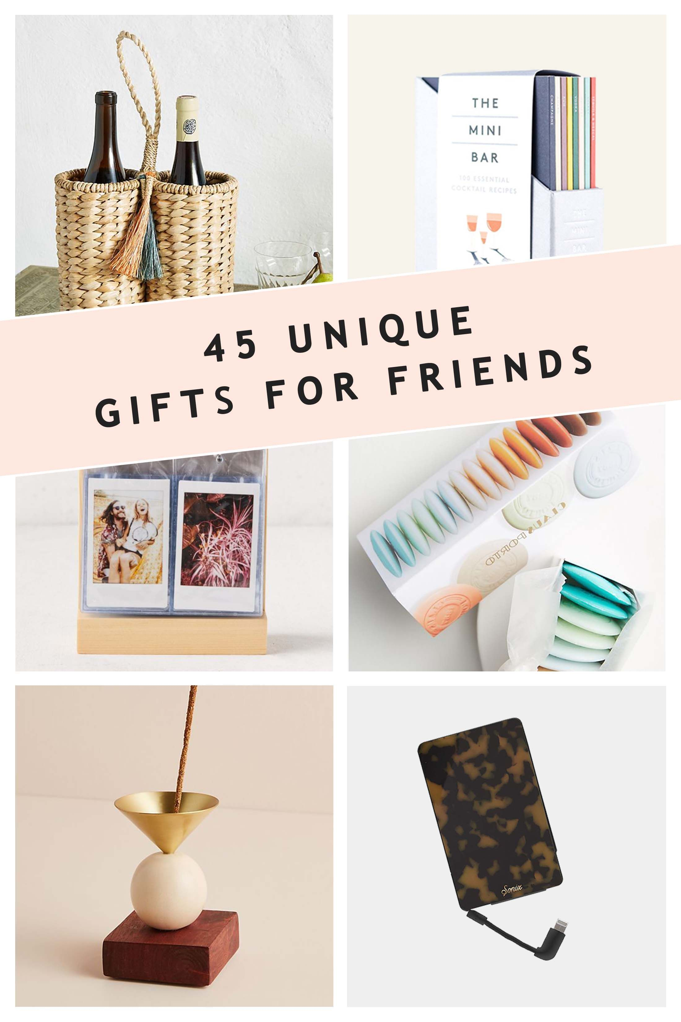 Finding the perfect gifts for friends can be hard, so we're making it easy with these 45 unique gift ideas! This gift guide features a variety of gift ideas that are sure to fit those on your shopping list this holiday season. We know you want to pick out thoughtful gifts, and we've got you covered so you have the perfect presents for the friends in your life. #giftideas #giftguide #Christmas #holidays #presents #friends #giftsforhim #giftsforher