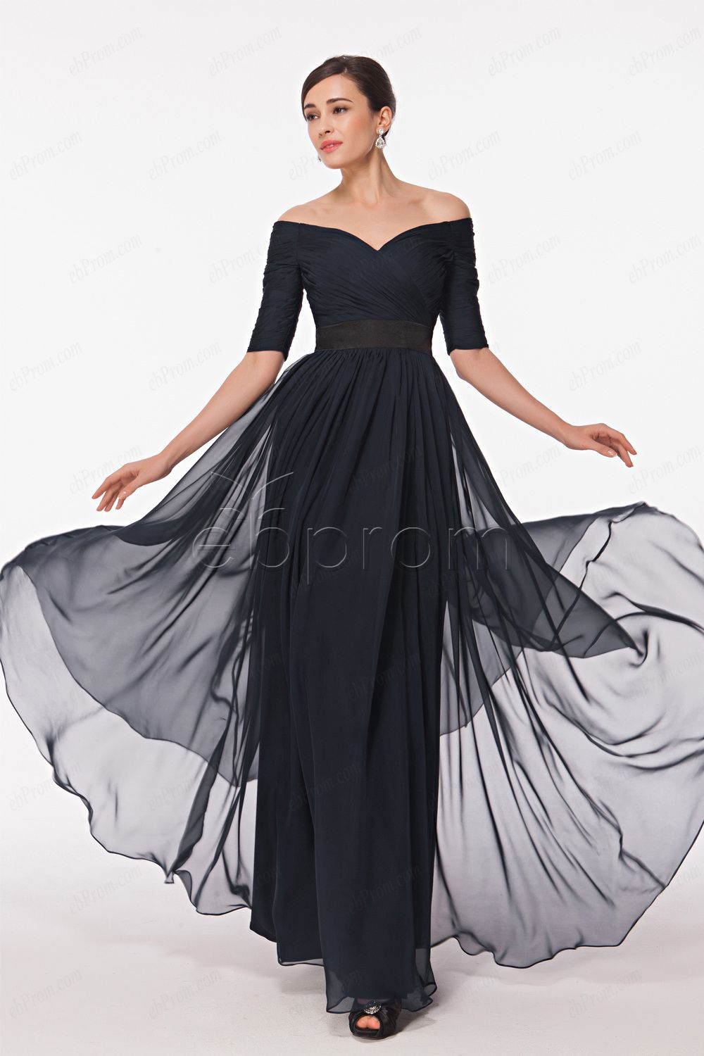 2e7d92507b8e Off the shoulder navy blue prom dresses with sleeves | ebProm Prom ...