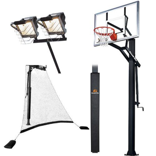 Goalrilla Gs54 With Pole Pad Ball Return Net Deluxe Hoop Light Adjustable 54 In Ground Basketball System Basketball Systems Hoop Light Street Basketball