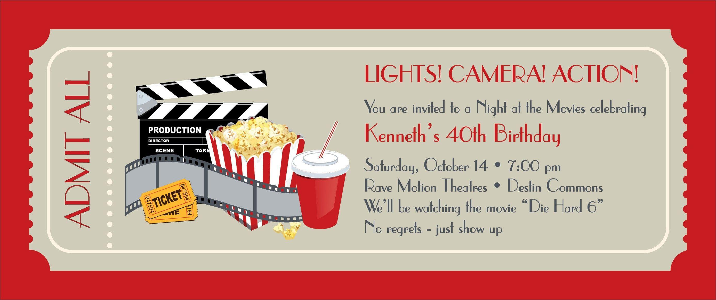 Free Printable Ticket Invitations Inspiration Movie Party Invitations Free Printable Insp Movie Night Invitations Party Invite Template Movie Party Invitations