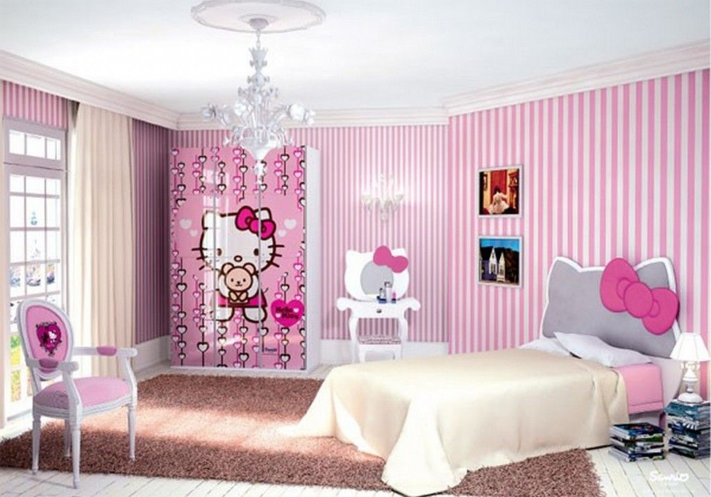 Kids Room Contemporary Girls Bedroom Design With Hello Kitty Headboard Bed  And Hello Kitty Cupboard. Mirror For Girls Room   makitaserviciopanama com