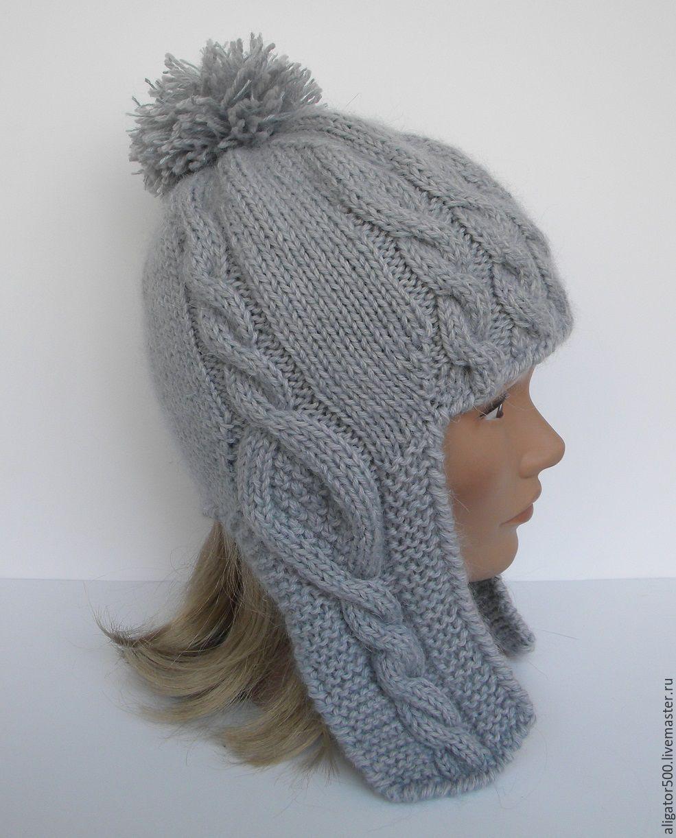 купить шапочка с ушками шапка вязаная женская шапка вязаная
