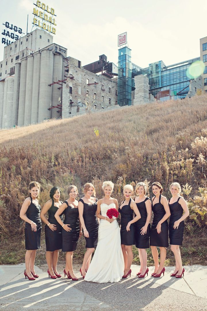 Bride & party at Mill City Ruins Park // Photo by Ashley B #minneapolisweddingphotography #weddingphotography #weddingparty