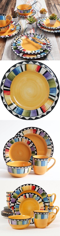 Dinner Service Sets 36032 Fiesta Dinnerware Sets 16 Piece Stoneware Plates Dishes Bowls Mugs Round & Dinner Service Sets 36032: Fiesta Dinnerware Sets 16 Piece Stoneware ...