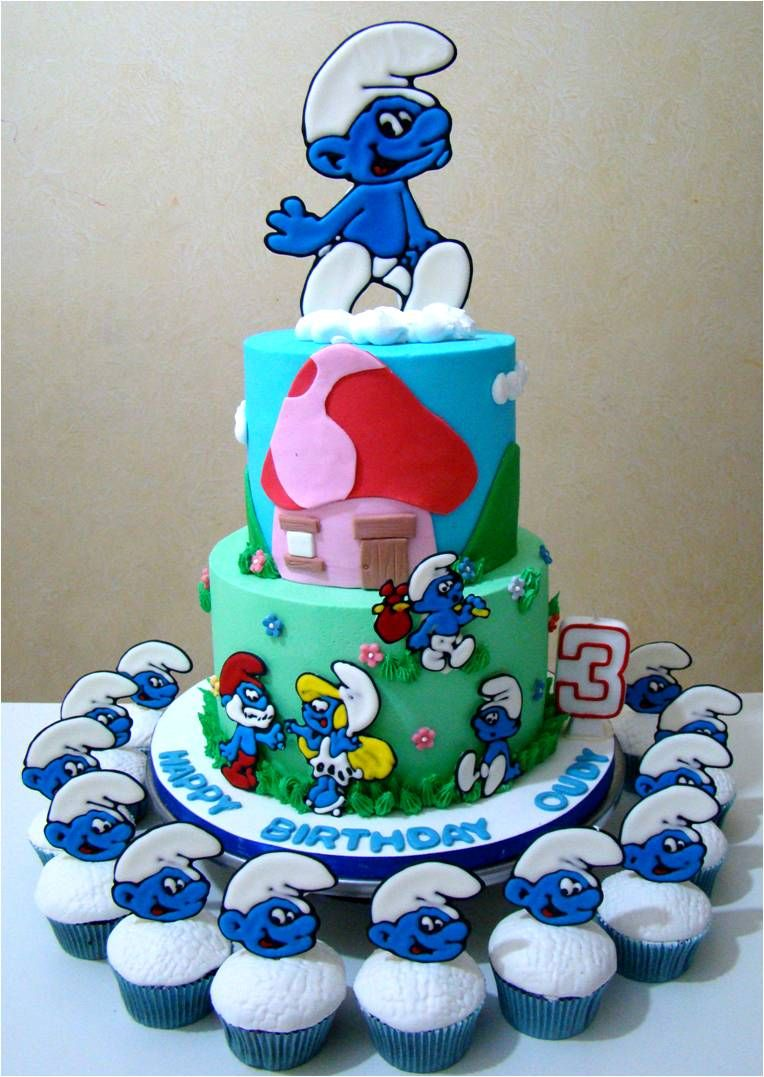 Swell Smurfs Birthday Cakes I Think I Can Make This Cake Smurfs Funny Birthday Cards Online Overcheapnameinfo