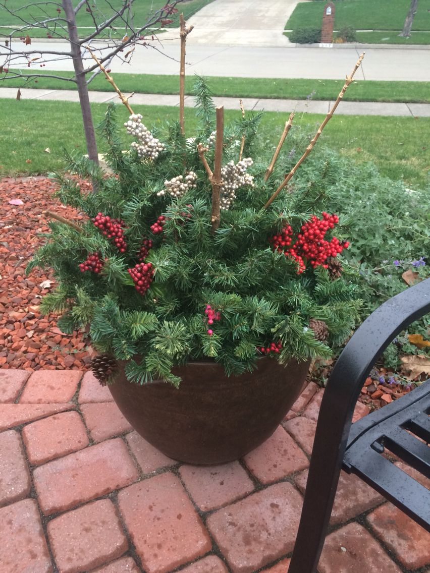 Repurposed Our Old Artificial Christmas Tree Into Three Outdoor Planters Christmas Garden Decorations Faux Christmas Trees Christmas Garden
