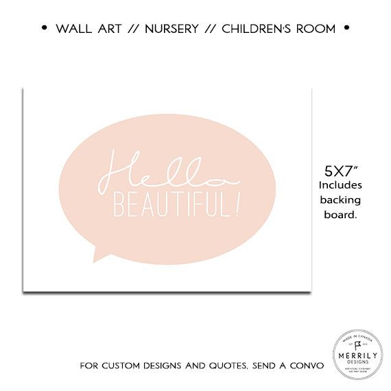 Hello Beautiful 5x7 Home and Nursery Wall Art by MERRILYDESIGNS