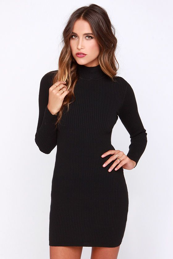 a02315c182 Mink Pink Ribbed Skivvy Black Bodycon Sweater Dress at Lulus.com!