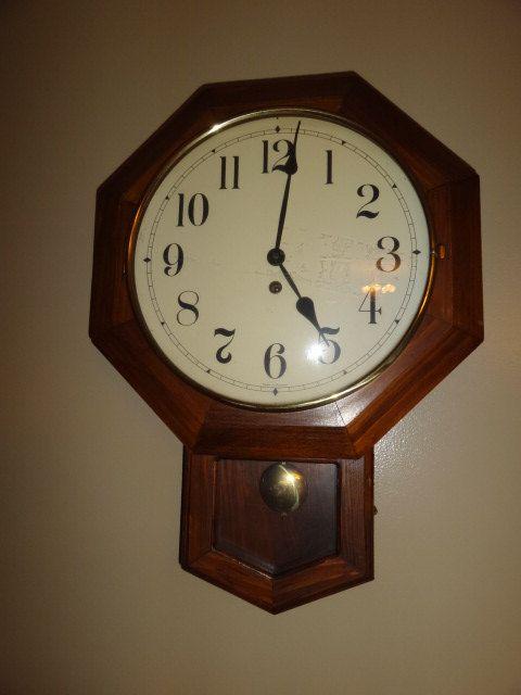 Vintage German Octagon Drop School House Wind Up By Antiquescove 165 00 Antique Clocks Antique Wall Clock Clock