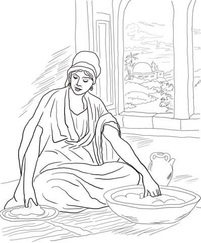 Parable Of The Leaven Yeast Coloring Page From Jesus Parables