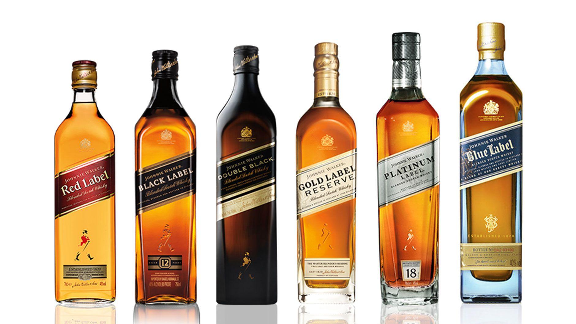 Bottle Of Johnnie Walker Colour Whisky Range Garrafas De Whisky
