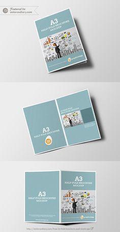 half fold brochure mockup free psd design menu pinterest