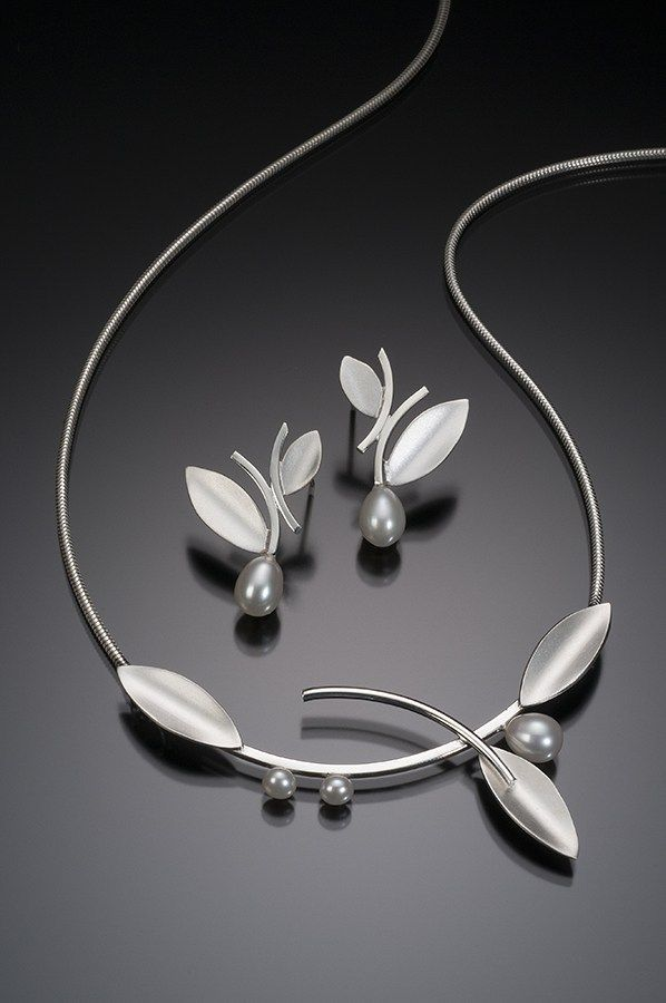 Silver Alternating Leaf with White Pearls - Beth Solomon Jewelry Studio