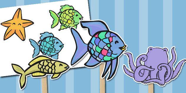 The Rainbow Fish Stick Puppets Lorupussi Rainbow Fish