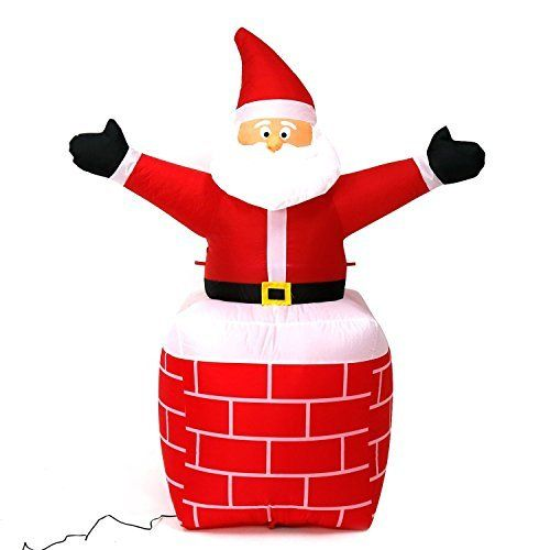 5 Foot Christmas Inflatable Airblown Santa Claus in Chimney Xmas - christmas blow up decorations
