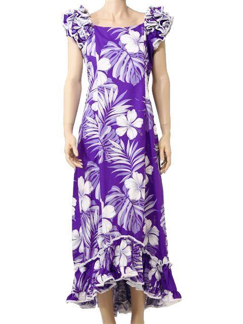 PL 334-3589 Ruffle Long Muumuu [Purple] - Long Dresses - Hawaiian ...