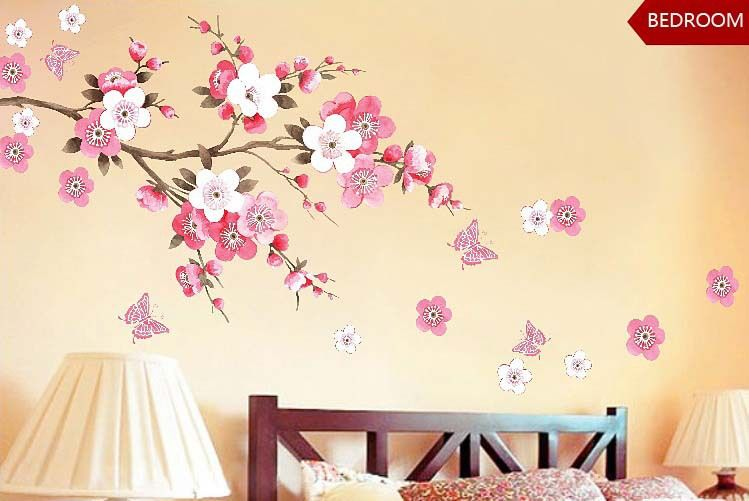 PLUM BLOSSOM Butterfly Flowers Wall Sticker Poster Removable ...