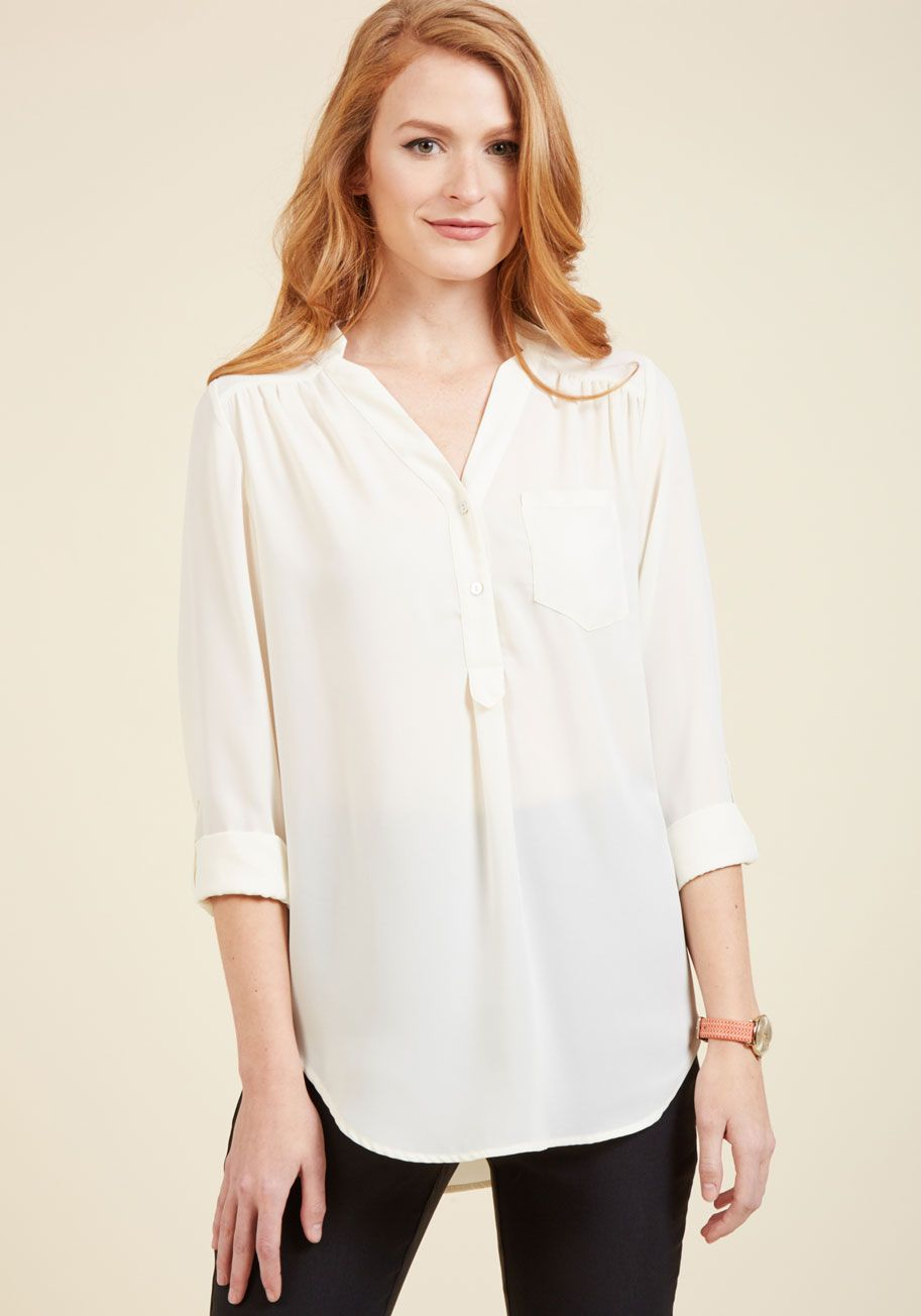 27ef30ea4 Pam Breeze-ly Tunic in Ivory. When you want a work wardrobe thats subtle,  stylish, and a bit romantic, make this ivory blouse your business!