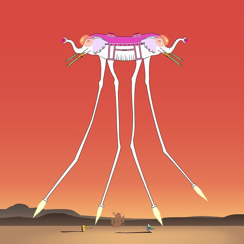 It's dali's version of the ancient psychic tandem war elephant