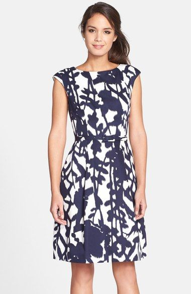 Adrianna Papell Blur Print Belted Fit Amp Flare Dress