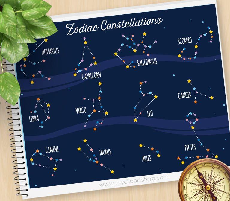 Zodiac Constellation Clipart, Horoscope, Astrology, Cosmic ...