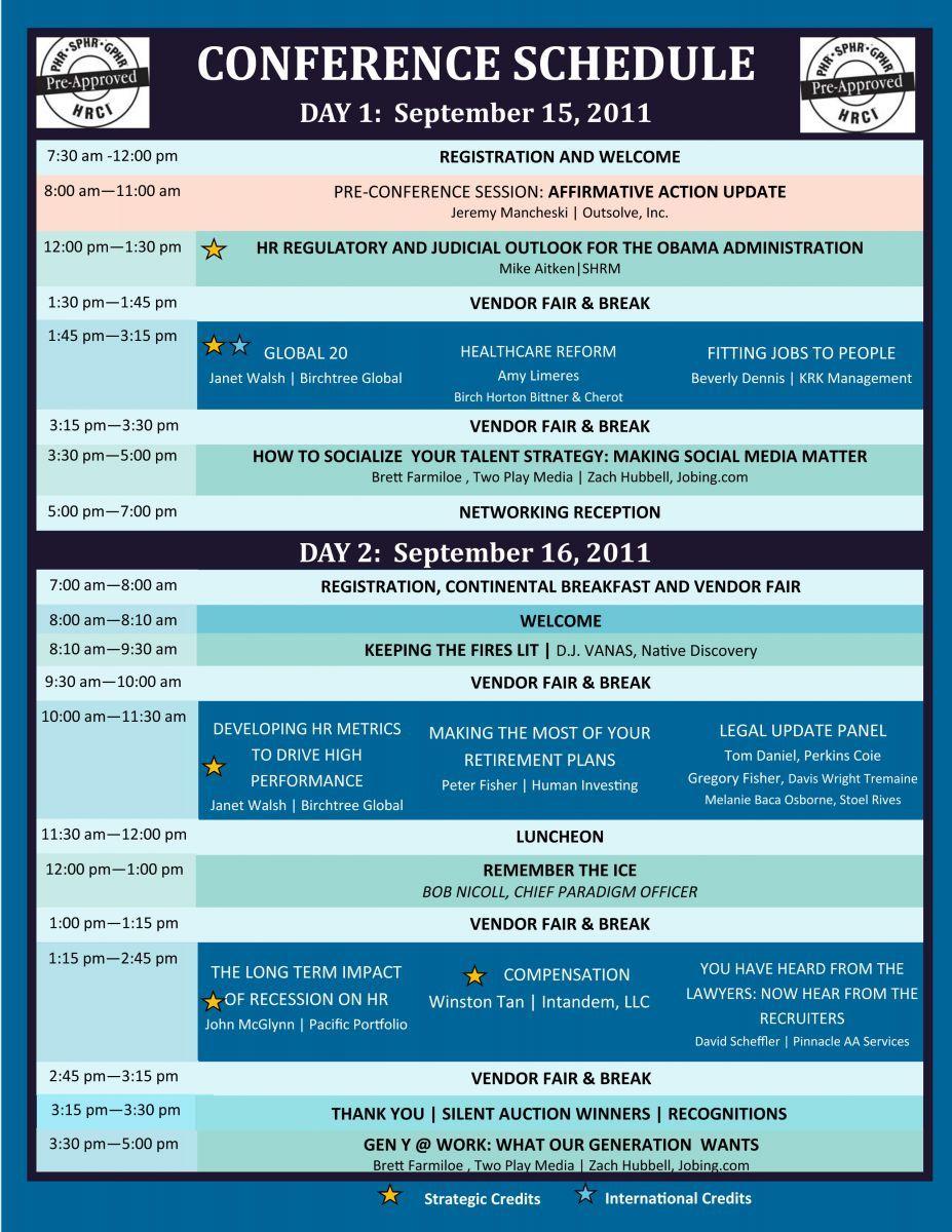 Conference Program At A Glance Agenda Template Conference Program