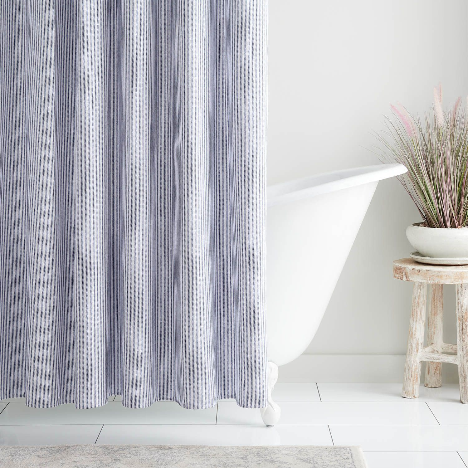 Cotton Shower Curtain Blue Stripe Shower Curtains And Hooks Bathroom In 2020 Striped Shower Curtains Cotton Shower Curtain Shower Curtain