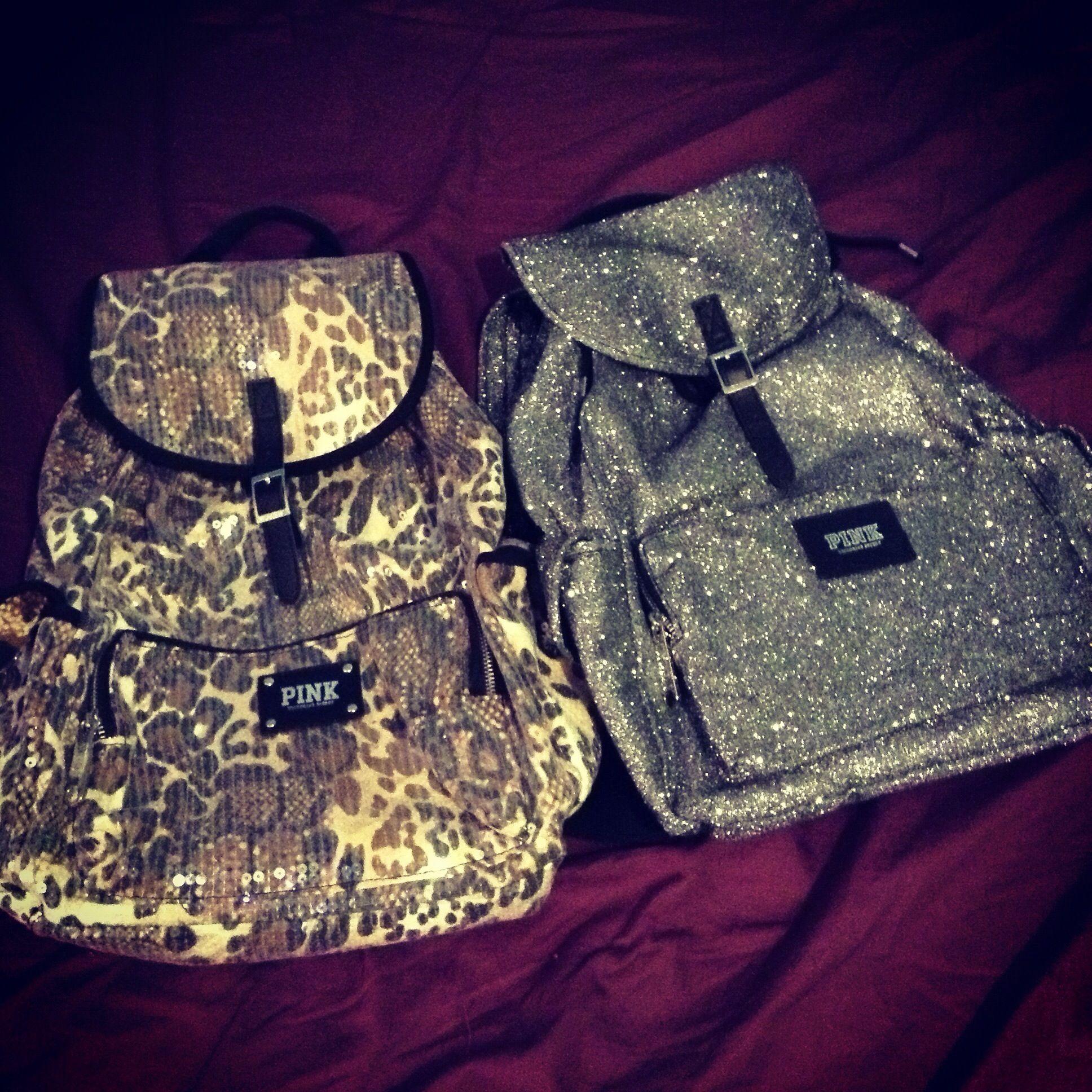 Victoria's Secret PINK Backpack, silver glitter & leopard