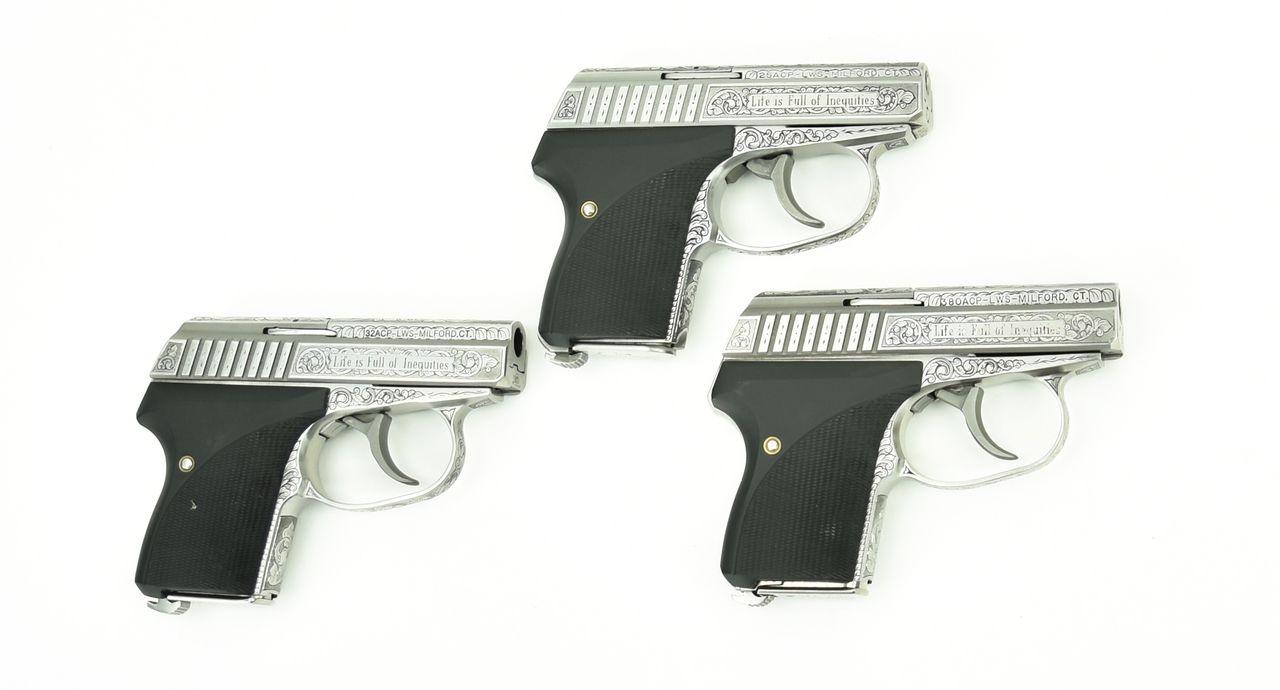 Fantastic Set of 3 Engraved Seecamp Pistols,  380,  32,  25