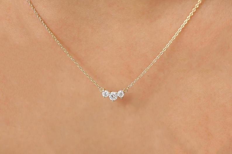 Solid 14K Gold Three Stone Pendant Black /& White Natural Diamond Pendant Dainty Pendant Minimalist Necklace Prong Set Diamond Pendant