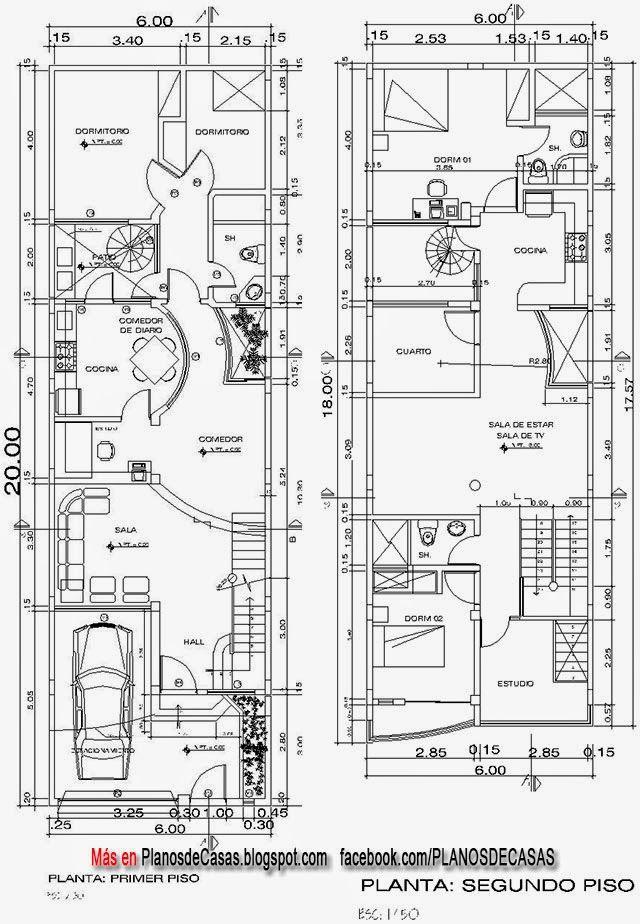 planos de casas de dos pisos con medidas y fachadas gratis