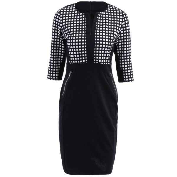 OL Style V-Neck Checked Print 3/4 Sleeve Women's Pencil Dress — 24.98 € Size: 2XL Color: COLORMIX