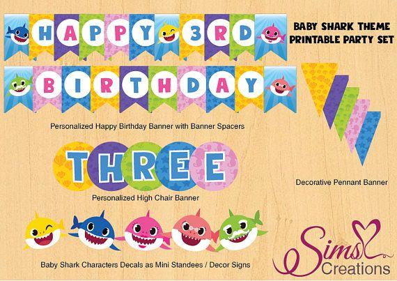 Baby Shark Birthday Party Printables Baby Shark Party Invita Shark Birthday Party Invitation Personalized Happy Birthday Banner Birthday Party Invitations Diy