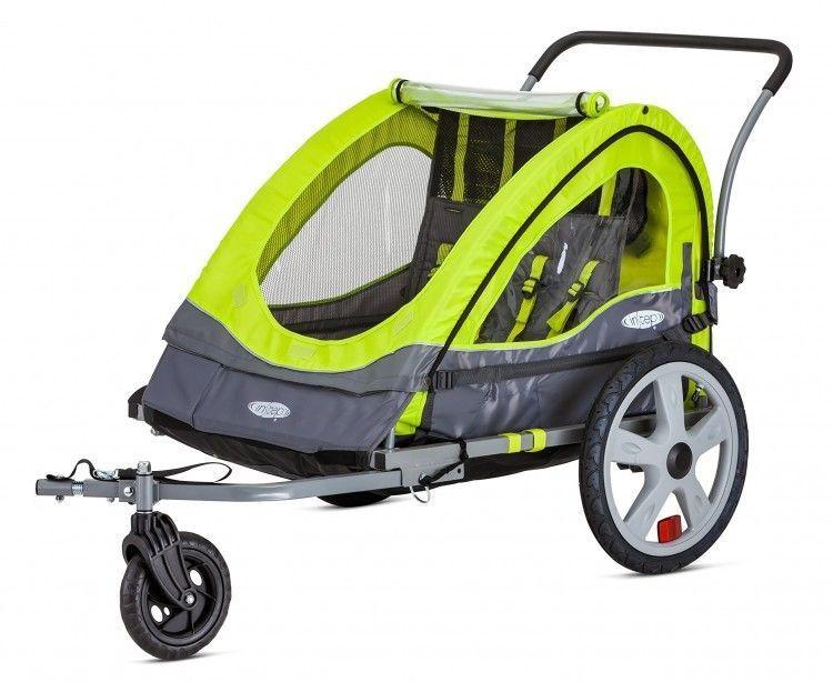 Green Double Bike Trailer Kid Child Holder Toddler Universal