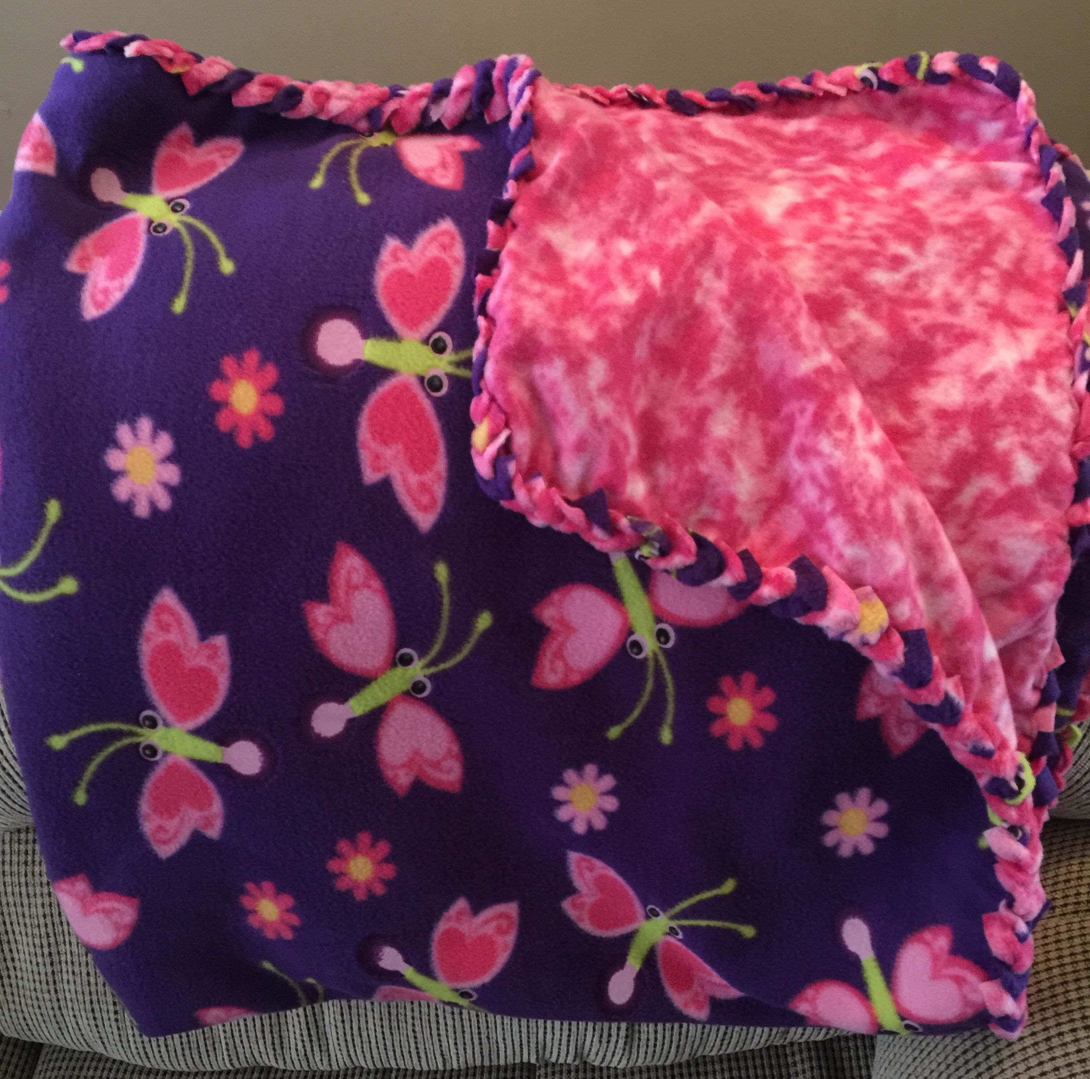 #Purple #Pink #butterflies #fleece #blanket  December 2014  Twin Bed Size $45 + shipping Email: candyce.sindelir@gmail.com