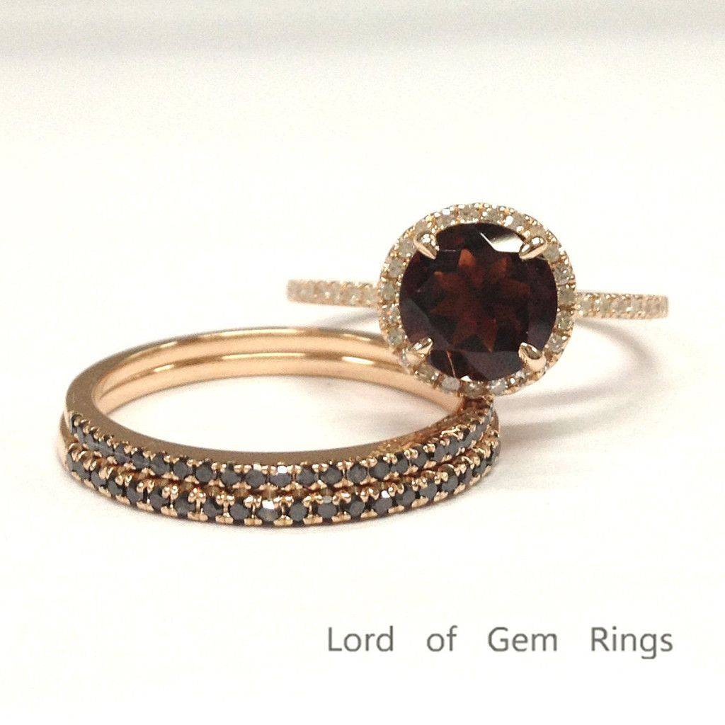 700 Round Garnet Engagement Ring Sets Pave Black Diamond Wedding