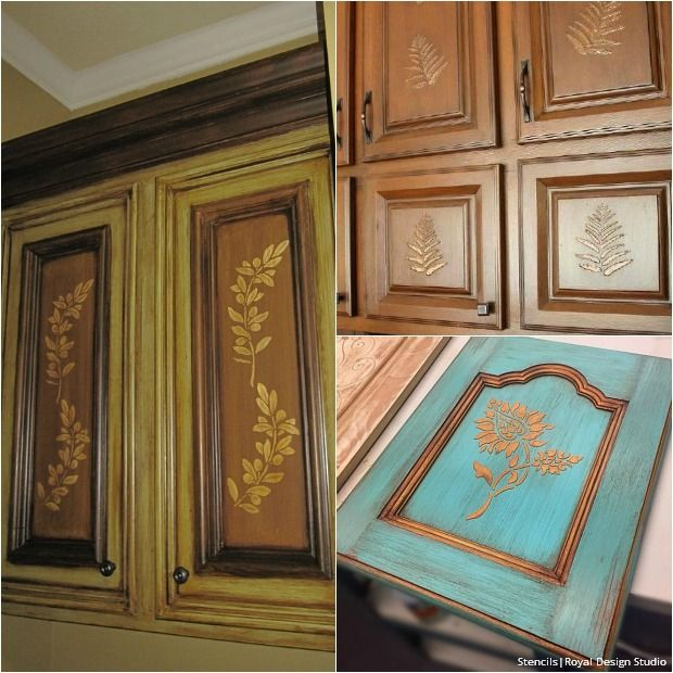 20 DIY Cabinet Door Makeovers with Furniture Stencils | Diy ... Ideas For Stenciling Painting Kitchen Cabinets on diy kitchen backsplash ideas, easy diy backsplash ideas, kitchen wall paint ideas,