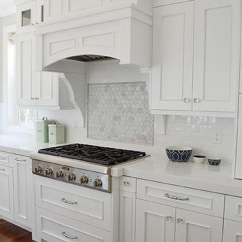 Marble Hex Cooktop Backsplash With Marble Border Transitional Simple Kitchen Backsplash Tile Designs Pictures Inspiration