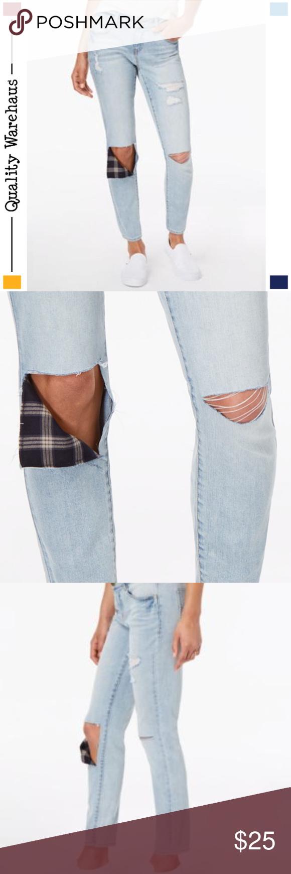 dollhouse Juniors Rip /& Repair Ankle Skinny Jeans