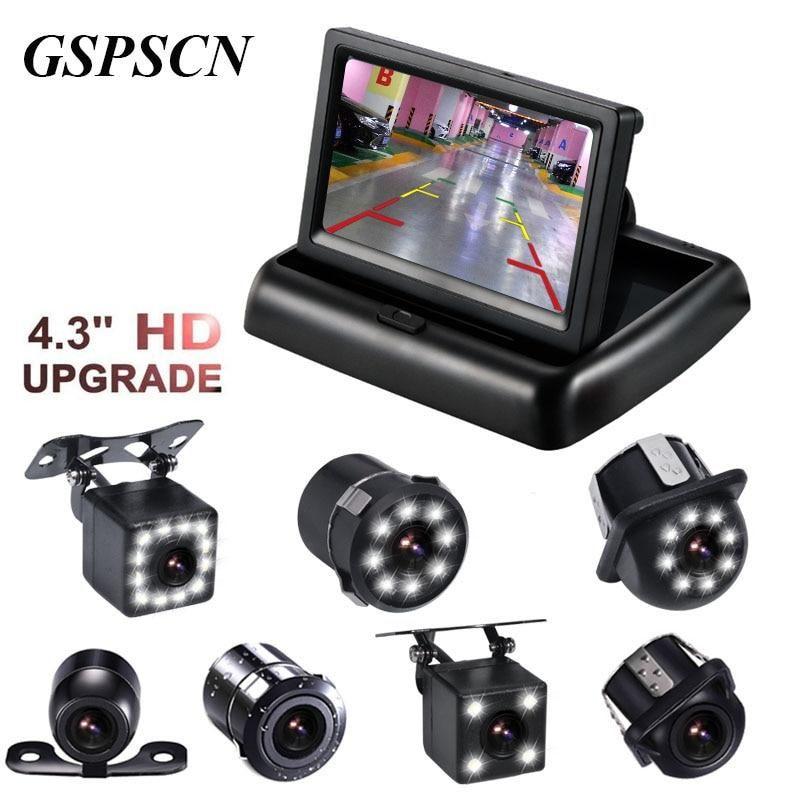 """4.3/"""" Foldable TFT LCD Display Monitor Car Rear View Backup Camera Night Vision"""