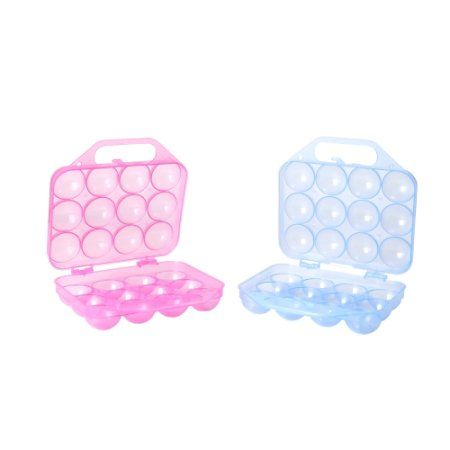 Clear Plastic Egg Carton 12 Egg Holder Carrying Case With Handle Set Of 2 Egg Holder Plastic Eggs How To Memorize Things