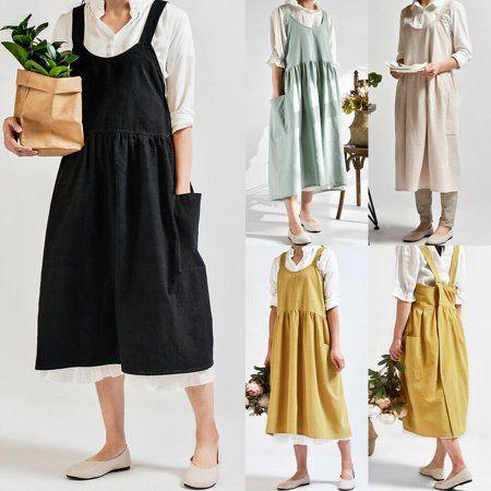 Women/'s Cotton Linen Cross Back Apron Japanese Housework Wrap Pinafore Dress